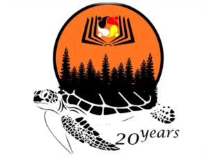 Orange logo with turtle