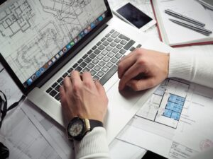 laptop with diagram of building